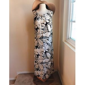 Tori Richard Tropical Monochrome Floral Maxi Dress